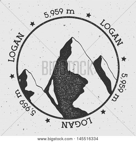 Logan In Saint Elias, Canada Outdoor Adventure Logo. Round Stamp Vector Insignia. Climbing, Trekking