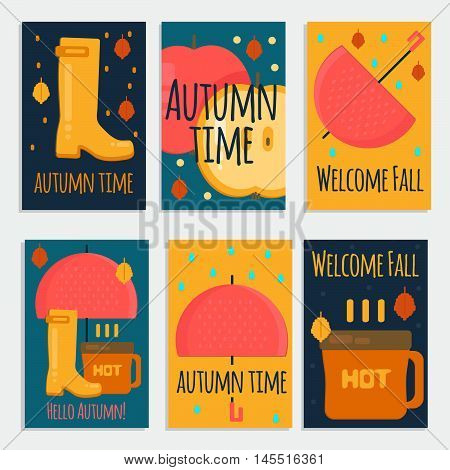 Autumn stuff banners in flat style. Vector fall rain concept cards withdry fall leaves umbrella rubber boots and hot coffe for web mobile party invitations sale advertising.