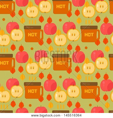 Coffe and apples pattern. Autumn vector background. Backdrop for wrapping wallpaper textile.