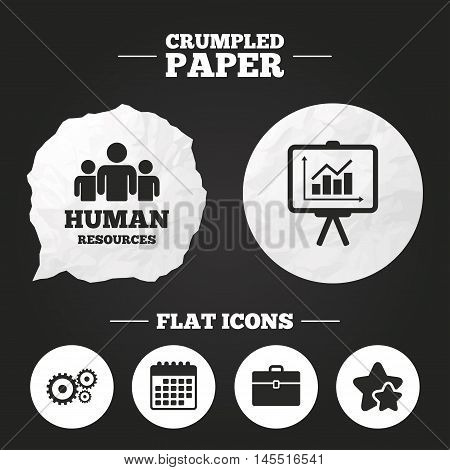Crumpled paper speech bubble. Human resources and Business icons. Presentation board with charts signs. Case and gear symbols. Paper button. Vector