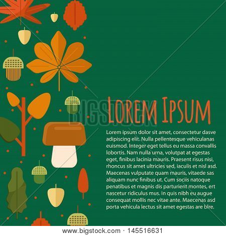 Autumn letterhead template in flat style. Vector business template with fall leaves. Autumn foliage concept.
