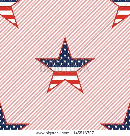 Us Patriotic Stars Seamless Pattern On Red Stripes Background. American Patriotic Wallpaper With Us