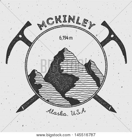 Mckinley In Alaska, Usa Outdoor Adventure Logo. Climbing Mountain Vector Insignia. Climbing, Trekkin