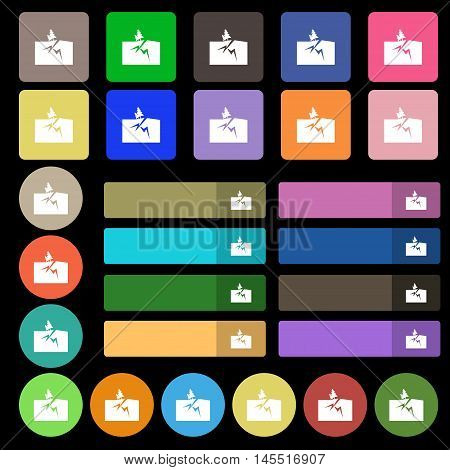 Property Insurance Icon Sign. Set From Twenty Seven Multicolored Flat Buttons. Vector