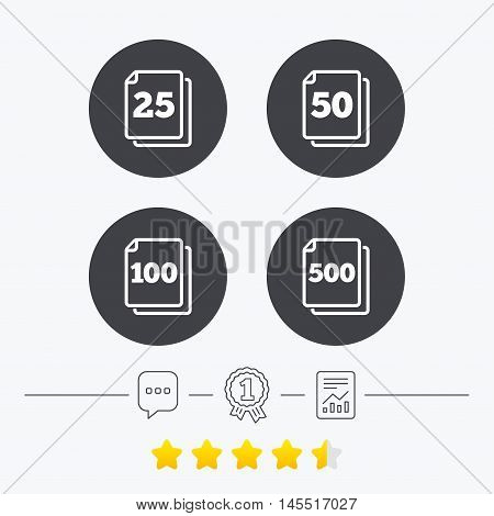 In pack sheets icons. Quantity per package symbols. 25, 50, 100 and 500 paper units in the pack signs. Chat, award medal and report linear icons. Star vote ranking. Vector