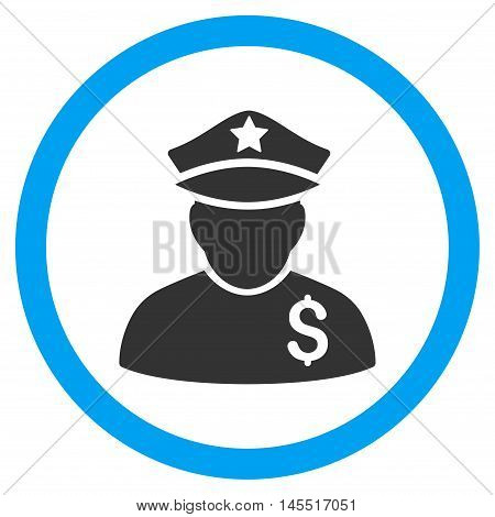 Financial Policeman vector bicolor rounded icon. Image style is a flat icon symbol inside a circle, blue and gray colors, white background.