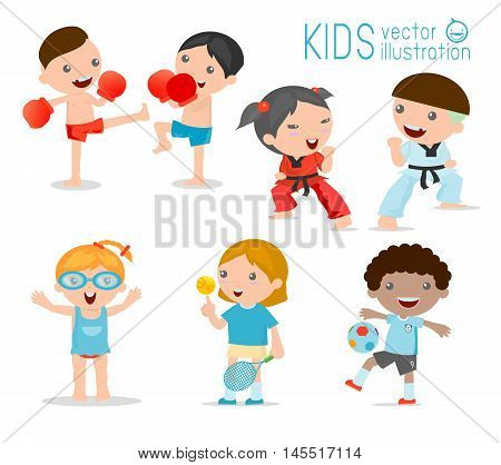 kids and sport, Kids playing various sports on white background , Cartoon kids sports,boxing, football, tennis, Taekwondo, karate, Swimming,Vector illustration