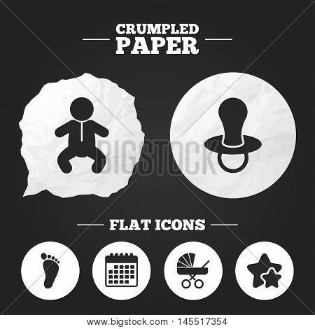 Crumpled paper speech bubble. Baby infants icons. Toddler boy with diapers symbol. Buggy and dummy signs. Child pacifier and pram stroller. Child footprint step sign. Paper button. Vector