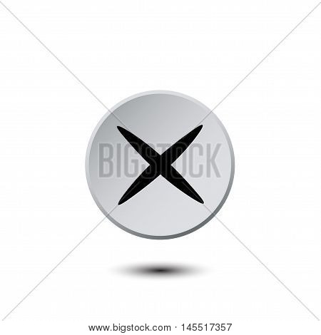 Light gray button with a black cross. vector illustration