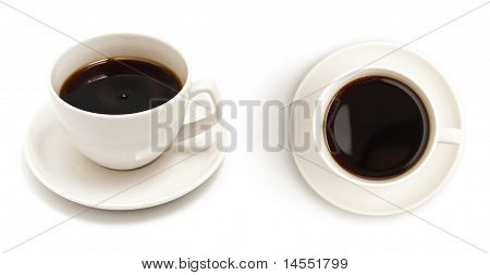 Set Of Different Views To Black Coffee Cup Isolated On White