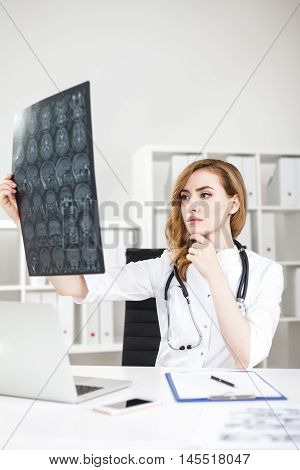 Woman Doctor With Xray