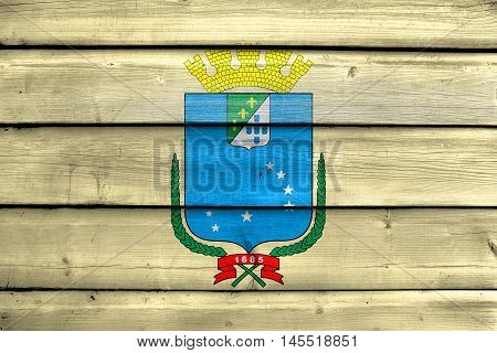 Flag Of Sao Luis, Maranhao, Brazil, Painted On Old Wood Plank Background