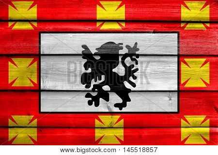 Flag Of Sao Vicente, Sao Paulo, Brazil, Painted On Old Wood Plank Background