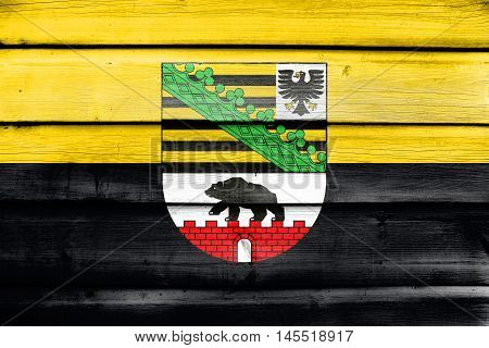 Flag Of Saxony-anhalt With Coat Of Arms, Germany, Painted On Old Wood Plank Background