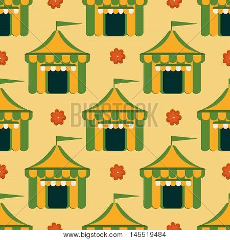 Beer tent background for festivals restaurants menu and bars. Vector illustration in flat style. Vector seamless pattern.