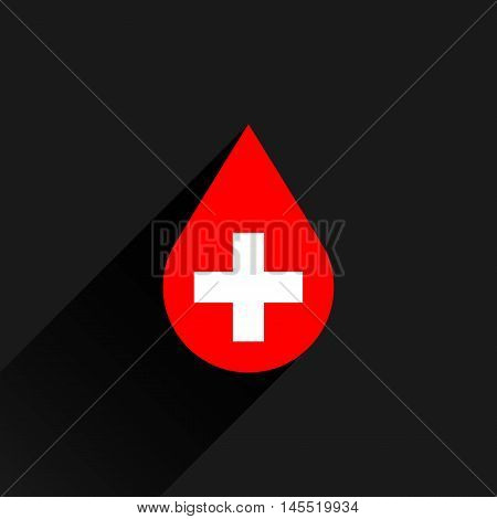 Donate drop blood sign with white cross with gray long shadow in simple flat style. Graphic design elements vector illustration save in 8 eps