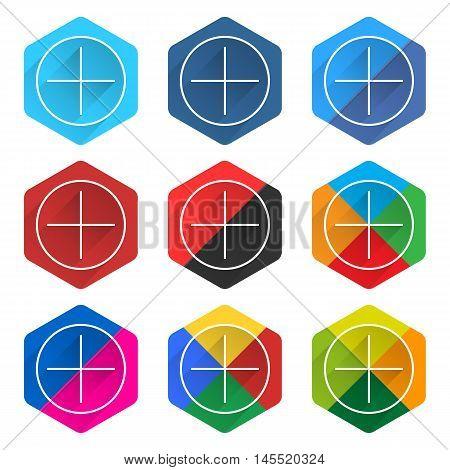 Flat Popular Social Network Web Hexagon Icon
