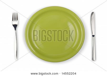 Knife, Green Plate And Fork Isolated