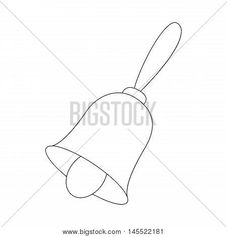 Christmas bell icon in outline style isolated on white background