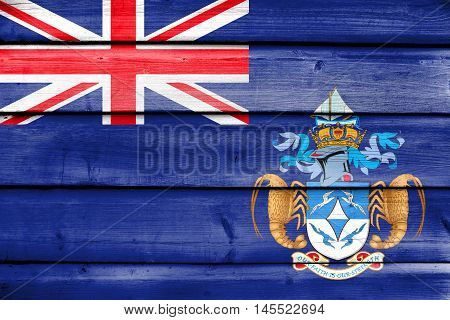 Flag Of Tristan Da Cunha (part Of Saint Helena, Ascension And Tristan Da Cunha), Painted On Old Wood