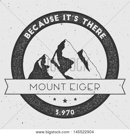 Eiger In Alps, Switzerland Outdoor Adventure Logo. Round Climbing Vector Insignia. Climbing, Trekkin