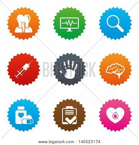 Medicine, medical health and diagnosis icons. Blood, syringe injection and neurology signs. Tooth implant, magnifier symbols. Stars label button with flat icons. Vector