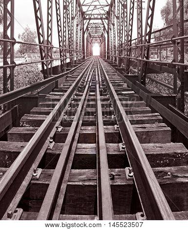 Railroad bridge in thailand Sepia color effect vintage style