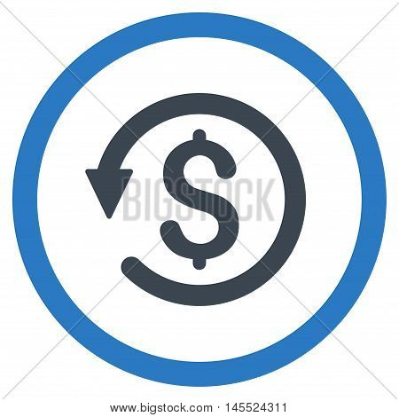 Chargeback vector bicolor rounded icon. Image style is a flat icon symbol inside a circle, smooth blue colors, white background.
