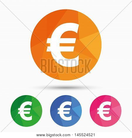 Euro sign icon. EUR currency symbol. Money label. Triangular low poly button with flat icon. Vector