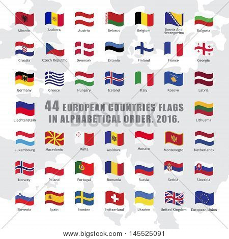 set of wave buttons with European countries flags