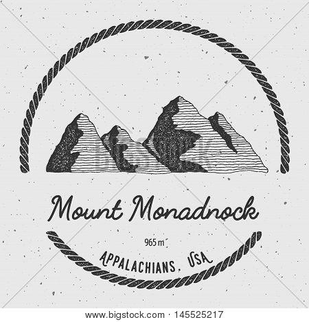 Monadnock In Appalachians, Usa Outdoor Adventure Logo. Round Trekking Vector Insignia. Climbing, Tre