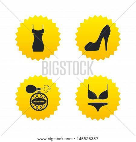 Women dress icon. Sexy shoe sign. Perfume glamour fragrance symbol. Intimates underwear. Yellow stars labels with flat icons. Vector