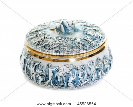 porcelain candy box in front of white background