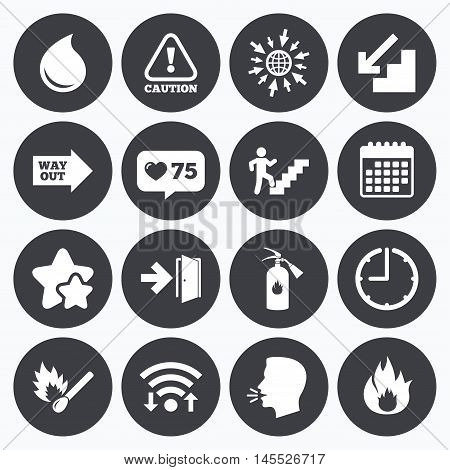 Calendar, wifi and clock symbols. Like counter, stars symbols. Fire safety, emergency icons. Fire extinguisher, exit and attention signs. Caution, water drop and way out symbols. Talking head, go to web symbols. Vector