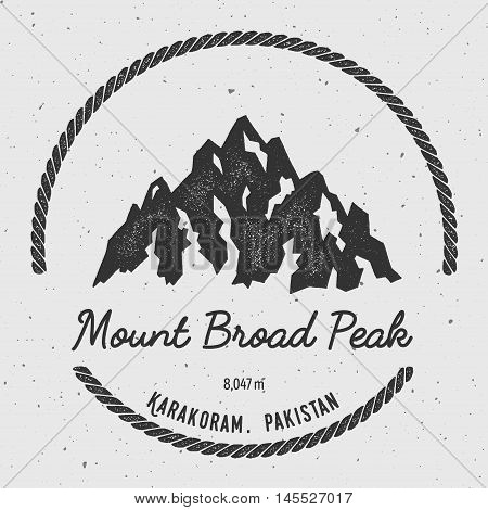 Broad Peak In Karakoram, Pakistan Outdoor Adventure Logo. Round Hiking Vector Insignia. Climbing, Tr
