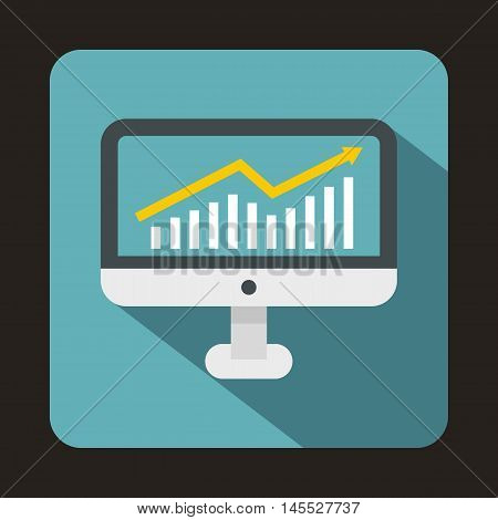Graph on computer screen icon in flat style isolated with long shadow
