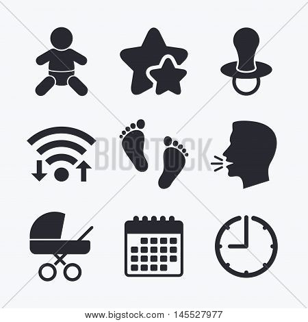 Baby infants icons. Toddler boy with diapers symbol. Buggy and dummy signs. Child pacifier and pram stroller. Child footprint step sign. Wifi internet, favorite stars, calendar and clock. Talking head. Vector