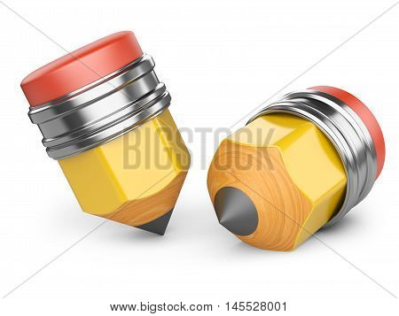 Two sharpened pencils. 3d illustration isolated on a pure white background.