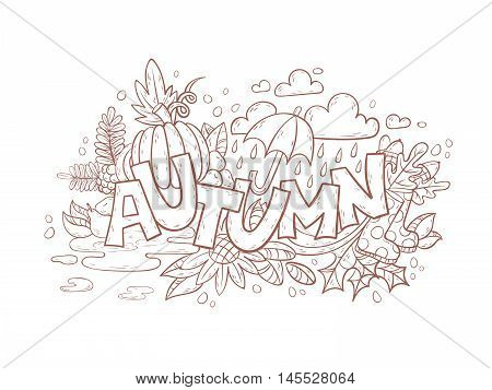 Autumn Doodle Page For Adult Coloring Book