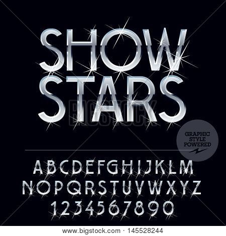 Silver glossy vector set of letters, symbols and numbers with sparkles
