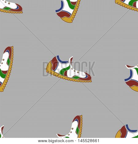 Ranning Shoes Seamless Pattern on Grey Background