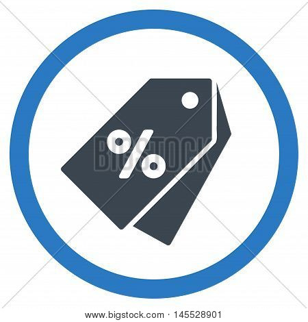 Percent Discount Tags vector bicolor rounded icon. Image style is a flat icon symbol inside a circle, smooth blue colors, white background.
