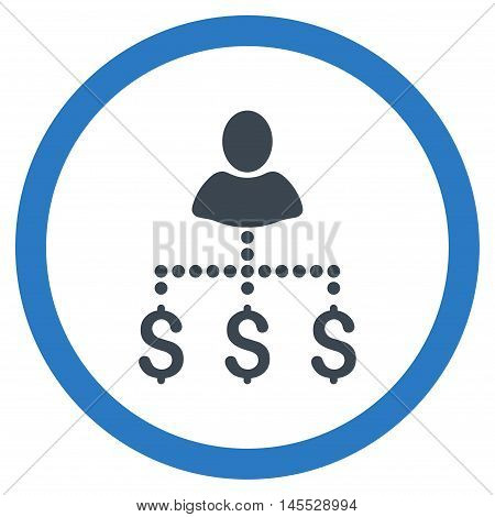 Person Payments vector bicolor rounded icon. Image style is a flat icon symbol inside a circle, smooth blue colors, white background.