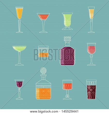 Retro vintage style soft drinks design. Collection of alcohol cocktails and other drinks. Flat style icon design.