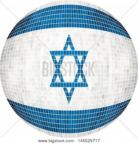 Ball with Israel flag - Illustration,  Sphere Israel Flag vector,   Abstract Grunge Mosaic flag of Israel