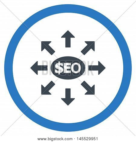 Seo Marketing vector bicolor rounded icon. Image style is a flat icon symbol inside a circle, smooth blue colors, white background.