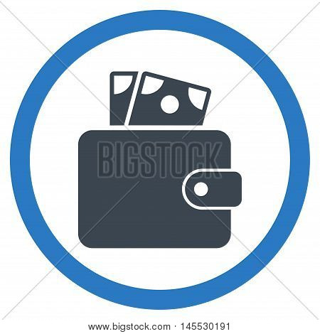 Wallet vector bicolor rounded icon. Image style is a flat icon symbol inside a circle, smooth blue colors, white background.