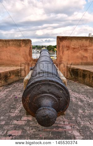Cannon at Museum of Las Casas Reales, Santo Domingo, Dominican Republic.