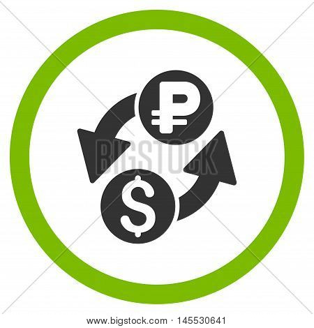 Dollar Rouble Exchange vector bicolor rounded icon. Image style is a flat icon symbol inside a circle, eco green and gray colors, white background.