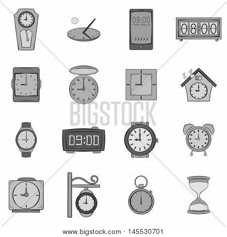 Clock icons set in black monochrome style. Time set collection vector illustration